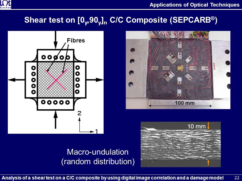 Shear test on [0y,90y]n C/C Composite (SEPCARB®)